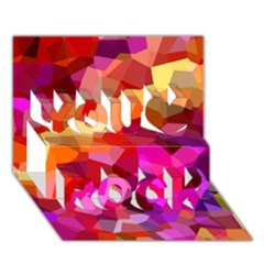 Geometric Fall Pattern You Rock 3d Greeting Card (7x5) by DanaeStudio