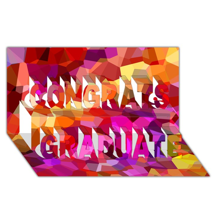Geometric Fall Pattern Congrats Graduate 3D Greeting Card (8x4)