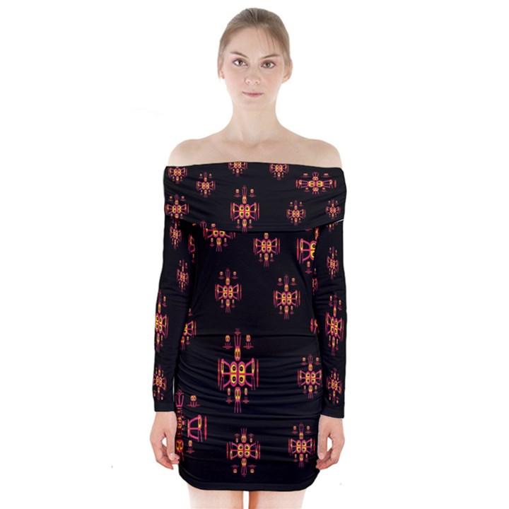 Alphabet Shirtjhjervbretilihhj Long Sleeve Off Shoulder Dress