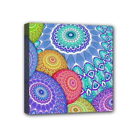 India Ornaments Mandala Balls Multicolored Mini Canvas 4  X 4  by EDDArt