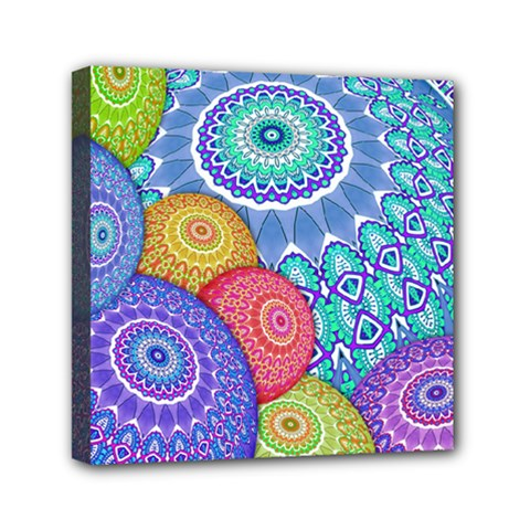 India Ornaments Mandala Balls Multicolored Mini Canvas 6  X 6  by EDDArt