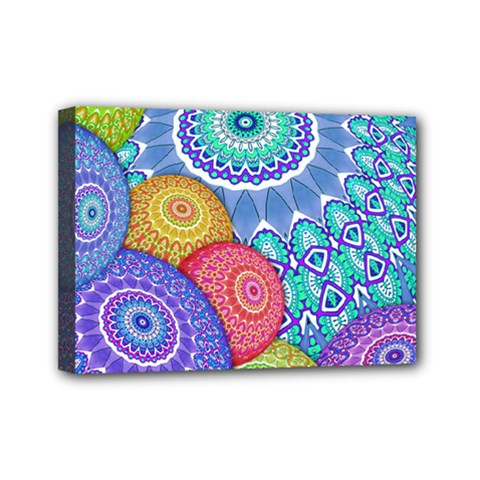India Ornaments Mandala Balls Multicolored Mini Canvas 7  X 5  by EDDArt