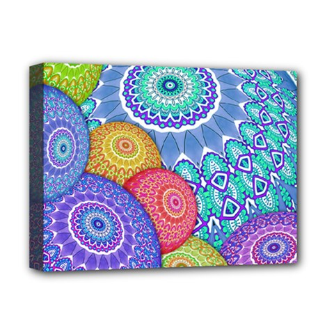 India Ornaments Mandala Balls Multicolored Deluxe Canvas 16  X 12   by EDDArt