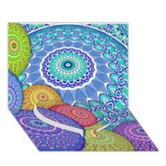 India Ornaments Mandala Balls Multicolored Heart Bottom 3d Greeting Card (7x5) by EDDArt