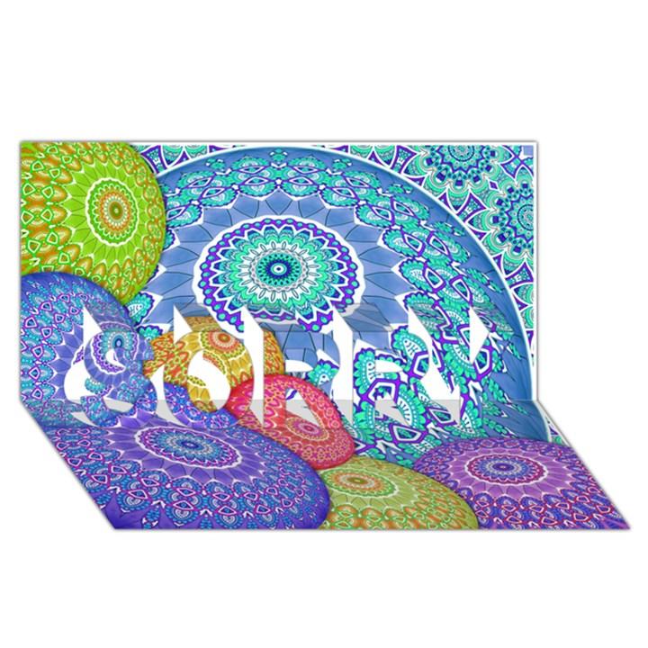 India Ornaments Mandala Balls Multicolored SORRY 3D Greeting Card (8x4)