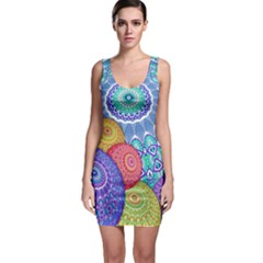 India Ornaments Mandala Balls Multicolored Sleeveless Bodycon Dress