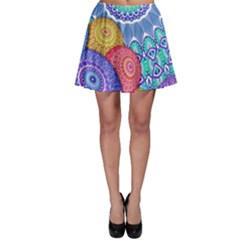 India Ornaments Mandala Balls Multicolored Skater Skirt by EDDArt
