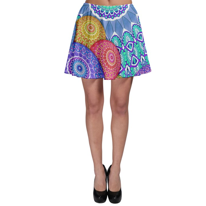 India Ornaments Mandala Balls Multicolored Skater Skirt