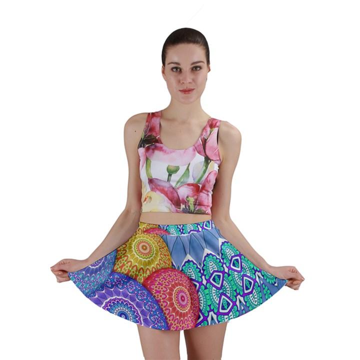 India Ornaments Mandala Balls Multicolored Mini Skirt