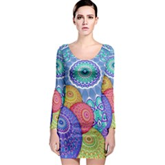 India Ornaments Mandala Balls Multicolored Long Sleeve Bodycon Dress by EDDArt