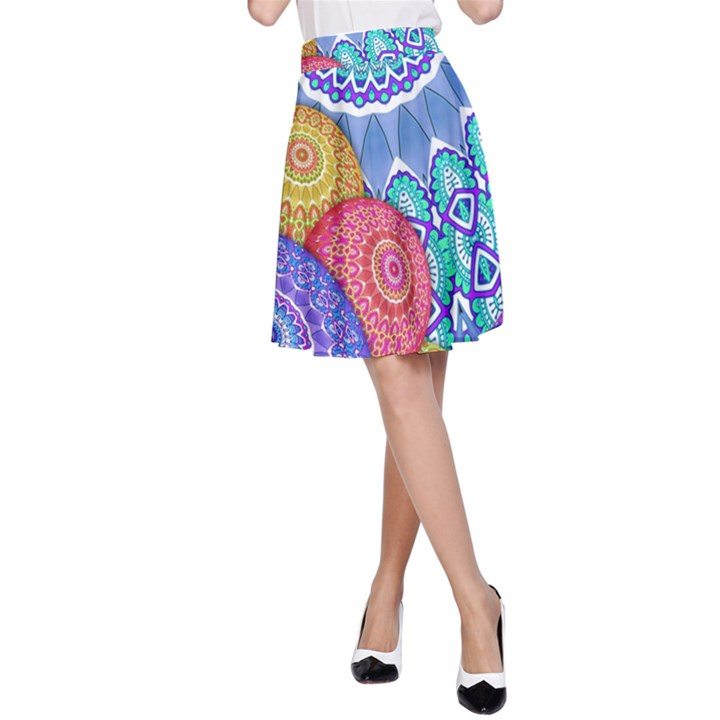 India Ornaments Mandala Balls Multicolored A-Line Skirt