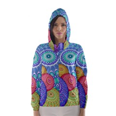 India Ornaments Mandala Balls Multicolored Hooded Wind Breaker (women)