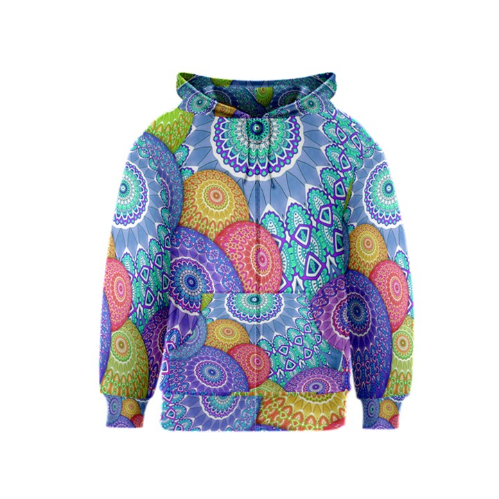 India Ornaments Mandala Balls Multicolored Kids  Zipper Hoodie