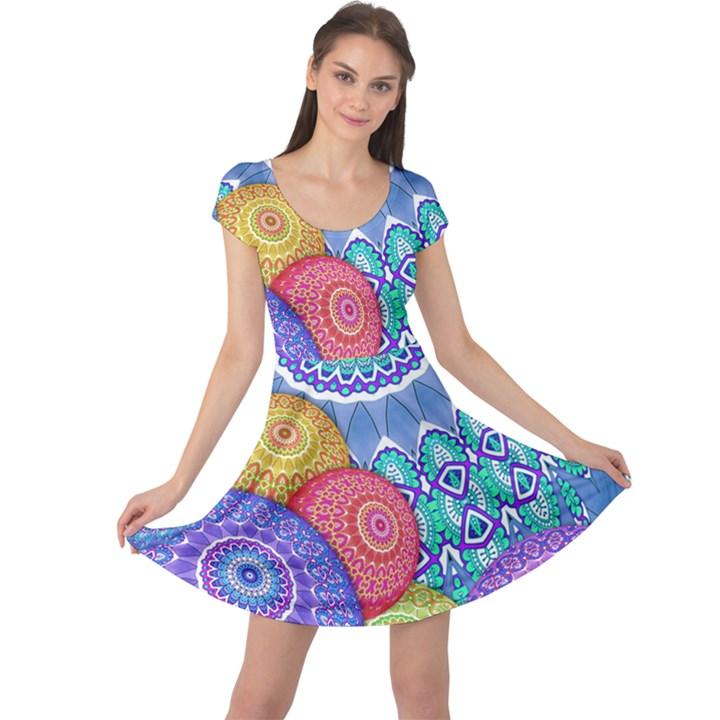 India Ornaments Mandala Balls Multicolored Cap Sleeve Dresses
