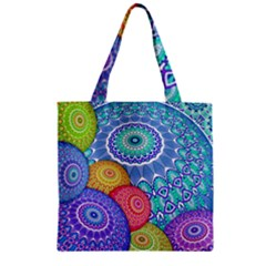 India Ornaments Mandala Balls Multicolored Zipper Grocery Tote Bag by EDDArt