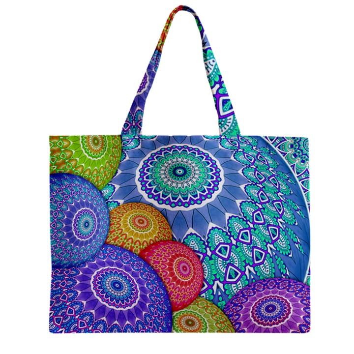 India Ornaments Mandala Balls Multicolored Zipper Mini Tote Bag