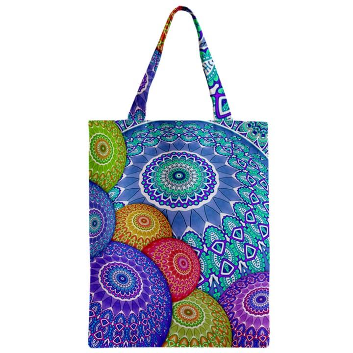 India Ornaments Mandala Balls Multicolored Zipper Classic Tote Bag
