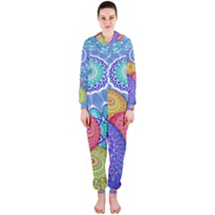 India Ornaments Mandala Balls Multicolored Hooded Jumpsuit (ladies)