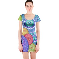 India Ornaments Mandala Balls Multicolored Short Sleeve Bodycon Dress