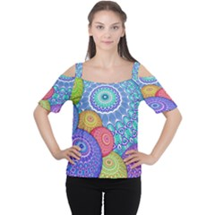 India Ornaments Mandala Balls Multicolored Women s Cutout Shoulder Tee