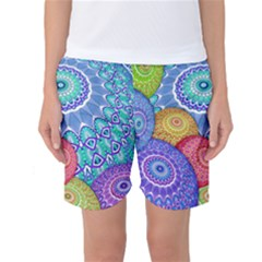 India Ornaments Mandala Balls Multicolored Women s Basketball Shorts