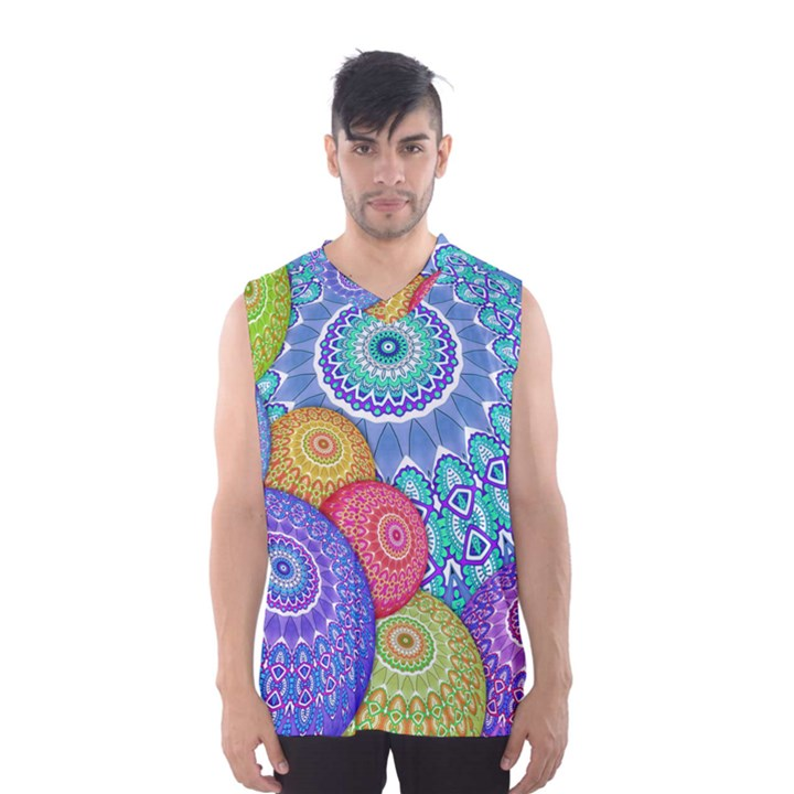 India Ornaments Mandala Balls Multicolored Men s Basketball Tank Top