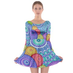 India Ornaments Mandala Balls Multicolored Long Sleeve Skater Dress
