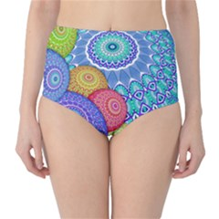 India Ornaments Mandala Balls Multicolored High Waist Bikini Bottoms by EDDArt