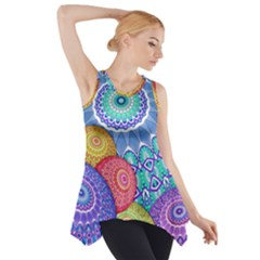 India Ornaments Mandala Balls Multicolored Side Drop Tank Tunic