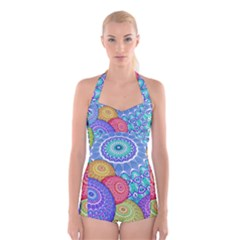 India Ornaments Mandala Balls Multicolored Boyleg Halter Swimsuit