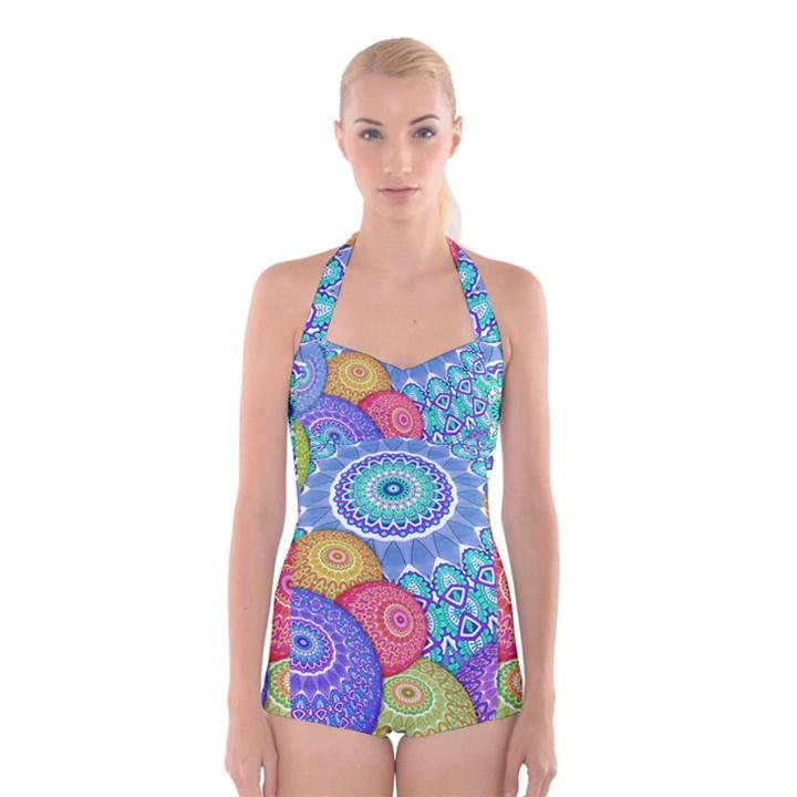India Ornaments Mandala Balls Multicolored Boyleg Halter Swimsuit
