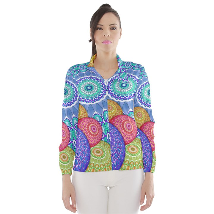 India Ornaments Mandala Balls Multicolored Wind Breaker (Women)