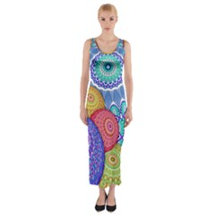 India Ornaments Mandala Balls Multicolored Fitted Maxi Dress