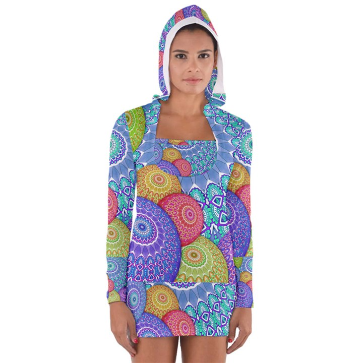 India Ornaments Mandala Balls Multicolored Women s Long Sleeve Hooded T-shirt