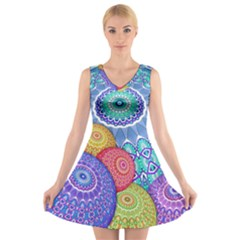 India Ornaments Mandala Balls Multicolored V Neck Sleeveless Skater Dress