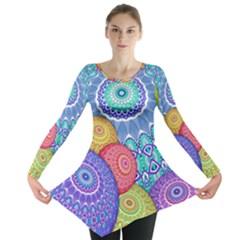 India Ornaments Mandala Balls Multicolored Long Sleeve Tunic