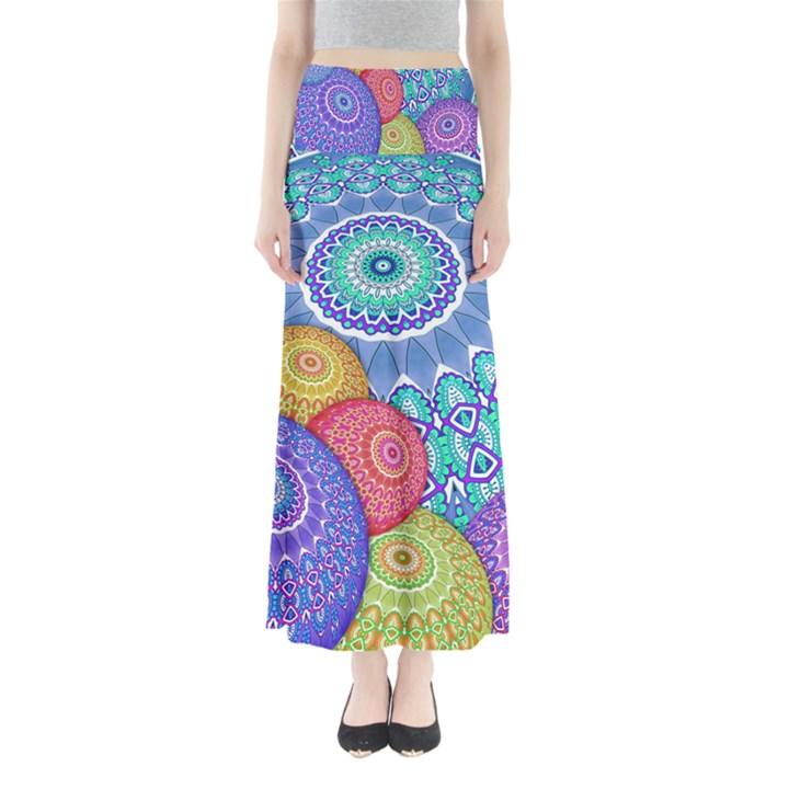 India Ornaments Mandala Balls Multicolored Maxi Skirts