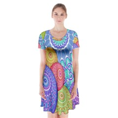 India Ornaments Mandala Balls Multicolored Short Sleeve V Neck Flare Dress