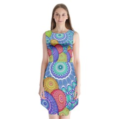 India Ornaments Mandala Balls Multicolored Sleeveless Chiffon Dress