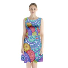 India Ornaments Mandala Balls Multicolored Sleeveless Chiffon Waist Tie Dress