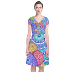 India Ornaments Mandala Balls Multicolored Short Sleeve Front Wrap Dress