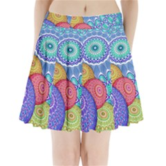 India Ornaments Mandala Balls Multicolored Pleated Mini Skirt by EDDArt