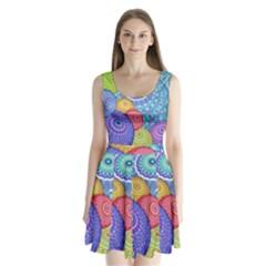 India Ornaments Mandala Balls Multicolored Split Back Mini Dress