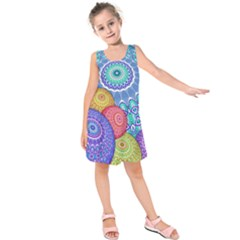 India Ornaments Mandala Balls Multicolored Kids  Sleeveless Dress by EDDArt