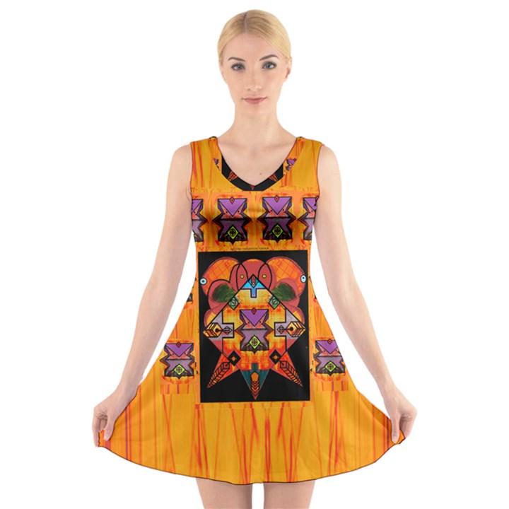 Clothing (20)6k,kk  O V-Neck Sleeveless Skater Dress