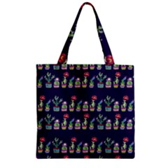 Cute Cactus Blossom Zipper Grocery Tote Bag by DanaeStudio