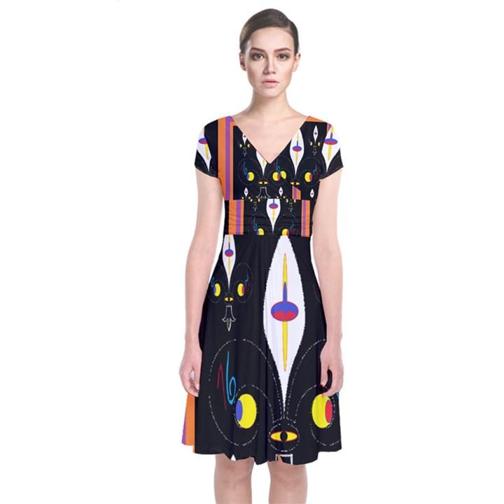 Flower F D L Short Sleeve Front Wrap Dress