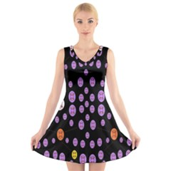 Alphabet Shirtjhjervbret (2)fvgbgnhllhn V Neck Sleeveless Skater Dress