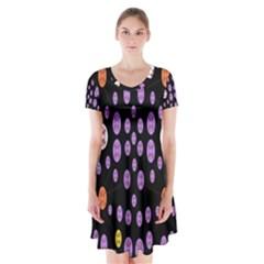 Alphabet Shirtjhjervbret (2)fvgbgnhllhn Short Sleeve V Neck Flare Dress by MRTACPANS