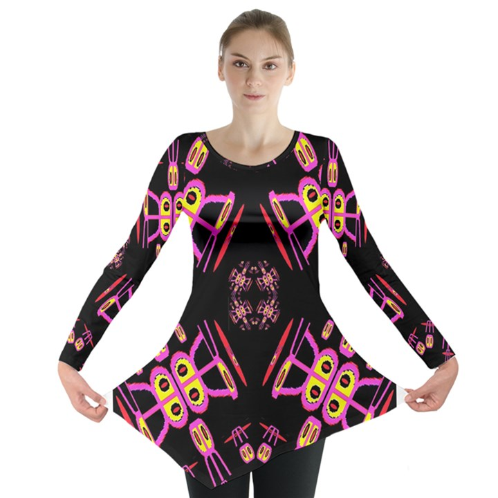 Alphabet Shirtjhjervbret (2)fv Long Sleeve Tunic